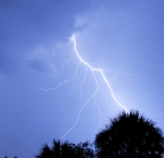 A close strike of lightning on a warm summer night